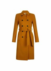 Eleanora Wool Blend Trench Coat Ochre