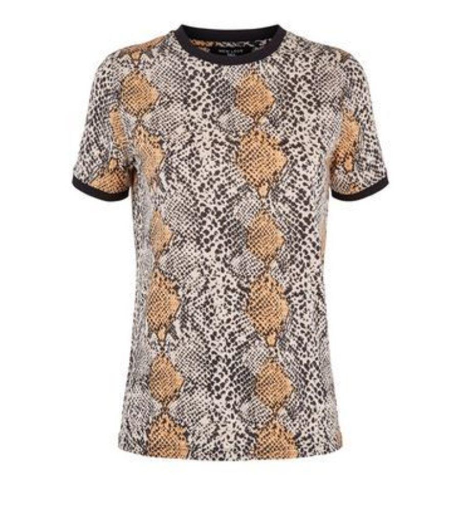 Tall Brown Snake Print Ringer T-Shirt New Look