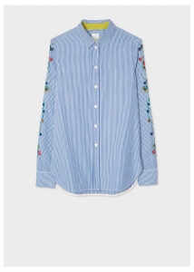 Women's Slim-Fit Blue And White Stripe Shirt With Embroidered Floral Sleeve Detail