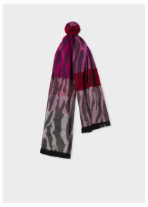 Women's Tonal Red 'Tree Bark' Lambswool And Cashmere Scarf