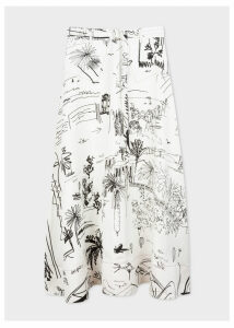 Women's Black And White 'Journal Print' Midi Skirt With Belt