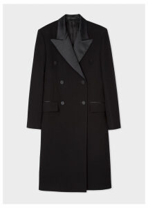 Women's Black Double-Breasted Tuxedo Wool Coat With Satin Lapel