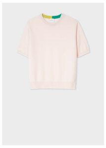 Women's Light Pink Short-Sleeve Cashmere Sweater