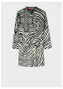 Women's Zebra Faux Pony Hair Collarless Belted Coat