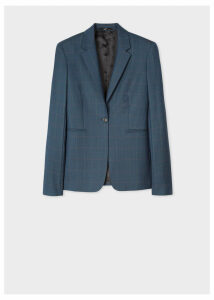 Women's Slim-Fit Dark Teal Windowpane Check Wool Blazer