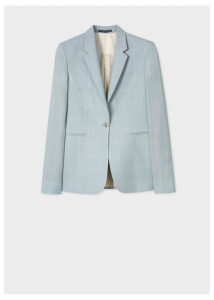 Women's Slim-Fit Powder Blue Windowpane Check Loro Piana Wool Blazer