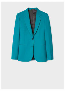 A Suit To Travel In - Women's Teal Two-Button Wool Blazer