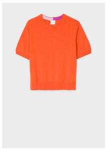 Women's Orange Short-Sleeve Cashmere Sweater