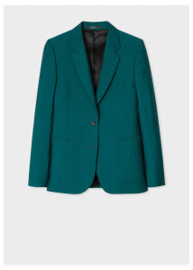 A Suit To Travel In - Women's Dark Teal Two-Button Wool-Mohair Blazer