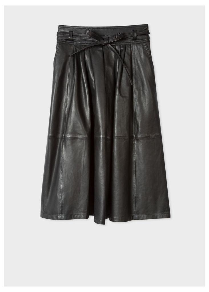 Women's Black Leather Midi Skirt
