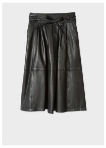 Women's Black Leather Midi Skirt