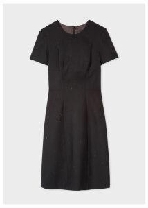 Women's Charcoal Grey Flecked Wool-Blend Shift Dress