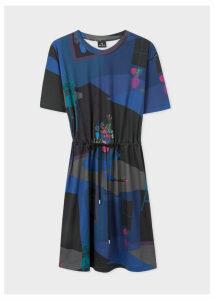 Women's Navy 'Still Life Bouquet' Print Cotton Dress