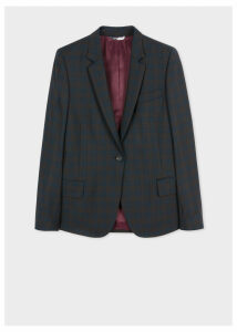 Women's Brown And Navy Check Wool Blazer