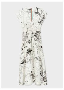 Women's Black And White 'Journal' Print V-Neck Linen-Blend Midi Dress