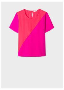 Women's Fuchsia And Coral Silk-Blend Colour Block Top