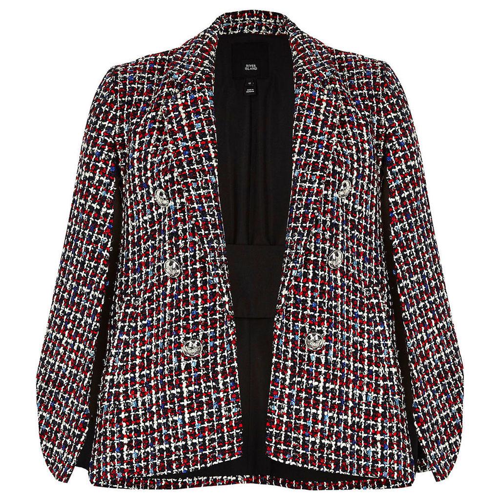 Womens Dark Red boucle cape sleeve jacket