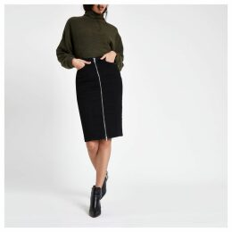 Womens Black zip through denim pencil skirt