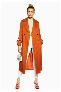 Womens Belted Trench Coat - Rust, Rust