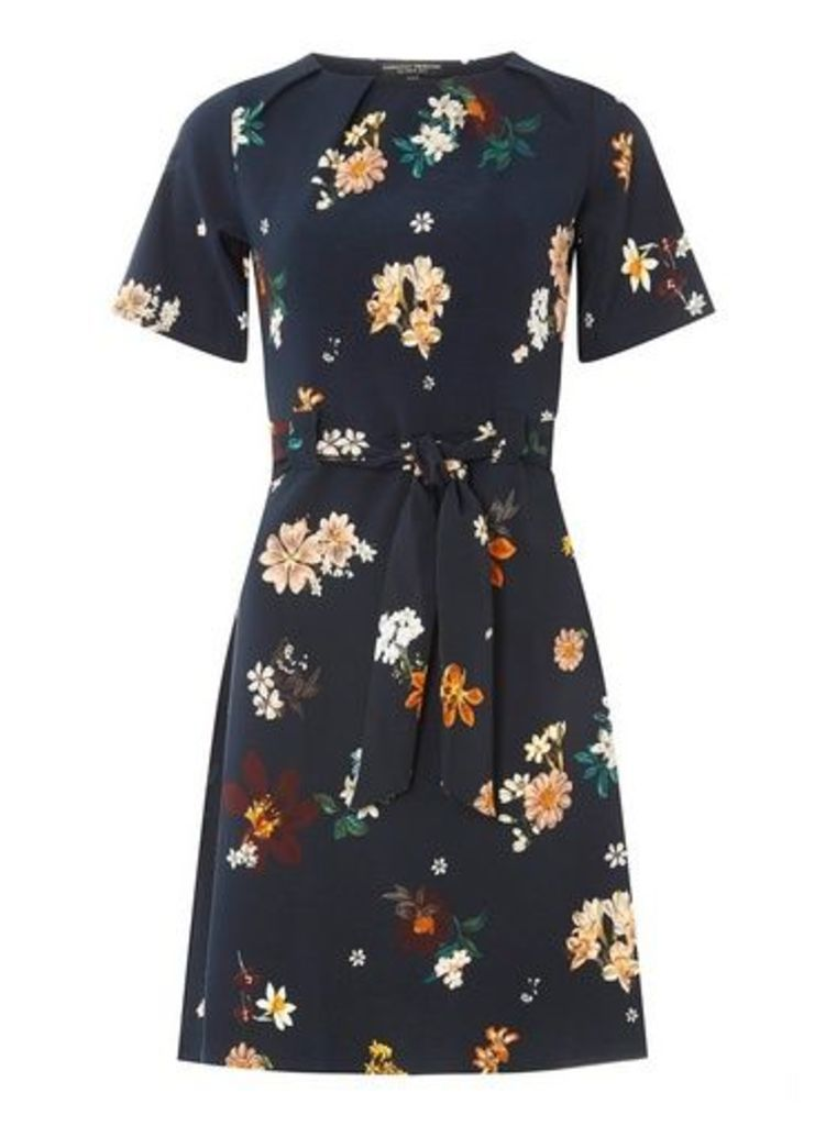Womens Navy Floral Print Pleated Skater Dress- Blue, Blue