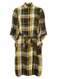 Womens Yellow Checked Shirt Dress- Yellow, Yellow