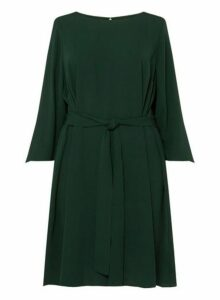 Womens **Dp Curve Green Tie Waist Knot Detail Skater Dress- Green, Green