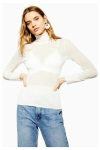 Womens Sheer Knitted Roll Neck Jumper - Ivory, Ivory