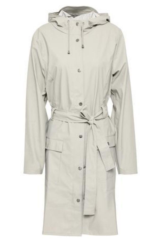 Rains Woman Coated Pvc Hooded Jacket Stone Size S/M
