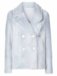 Yves Salomon double-breasted coat - Blue