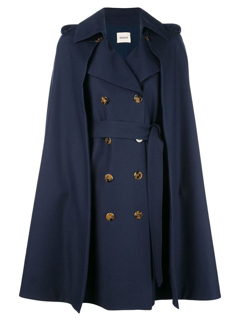 Khaite cape double-breasted coat - Blue