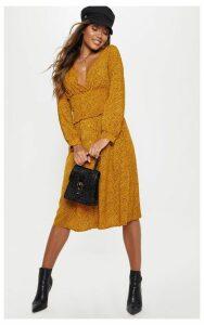 Mustard Floral Print V Neck Shirred Panel Midi Dress, Mustard