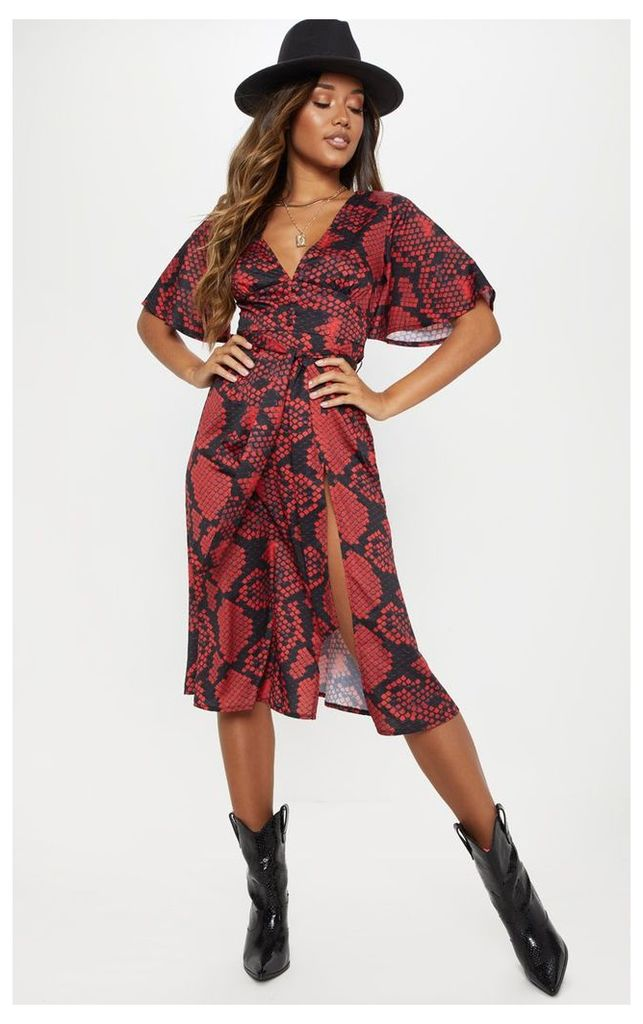 Snake Print Button Detail Flared Sleeve Midi Dress, Red