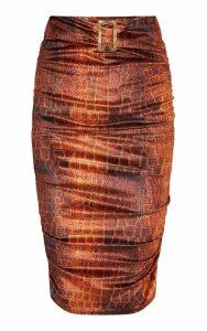Croc Print Velvet Belted Waist Midi Skirt, Chocolate