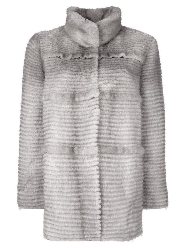 Liska panelled mink fur coat - Grey