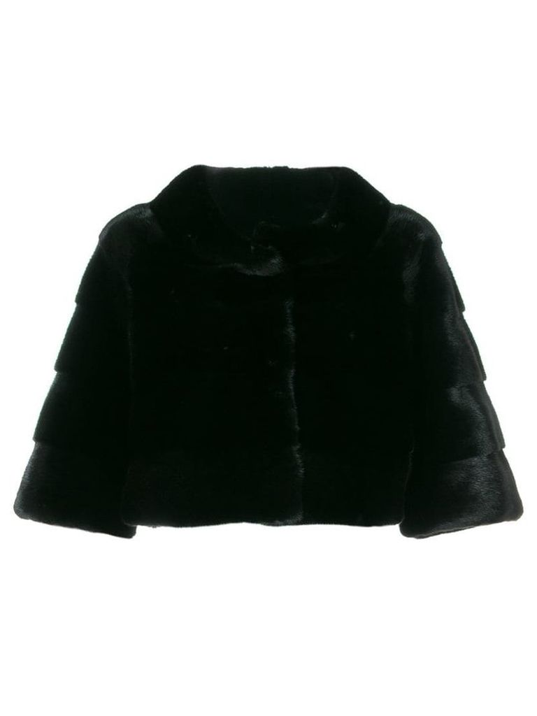 Liska fur detail cropped coat - Black