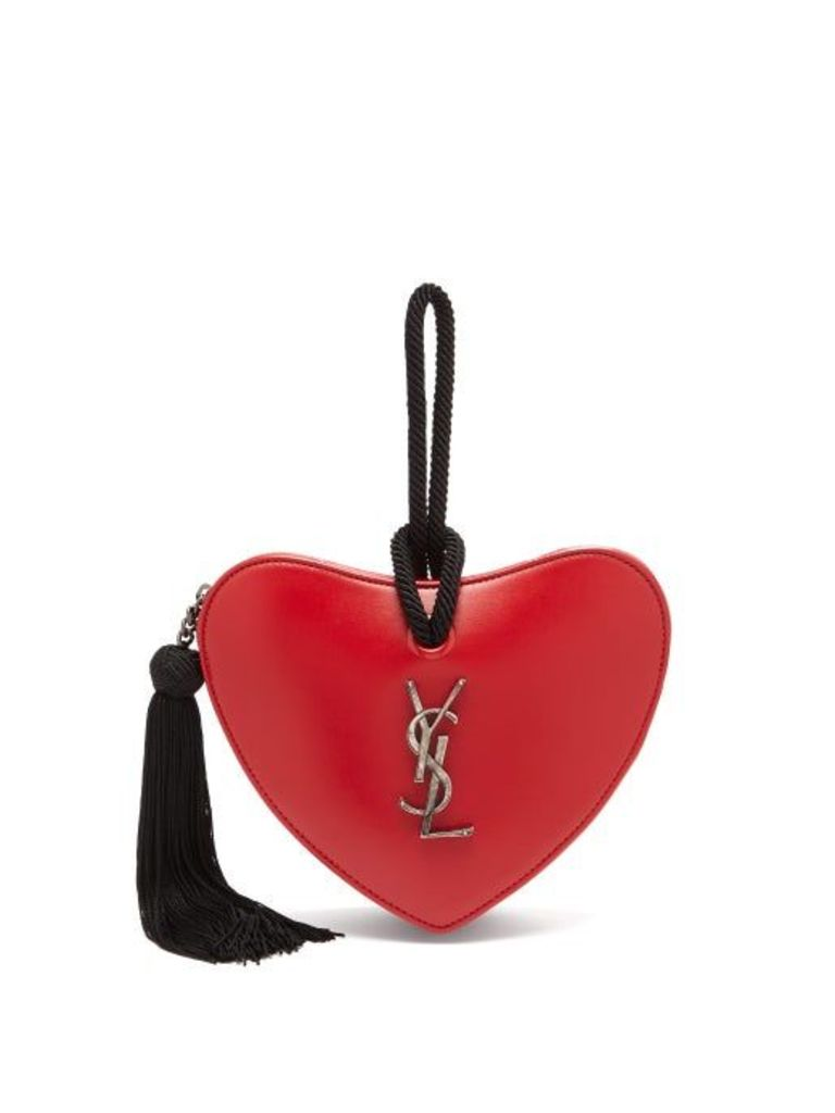 Saint Laurent - Love Heart Logo Leather Clutch - Womens - Red