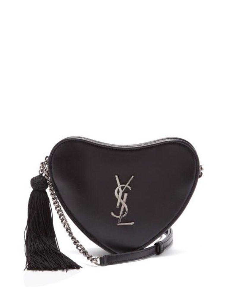 Saint Laurent - Love Heart Monogram Leather Cross Body Bag - Womens - Black