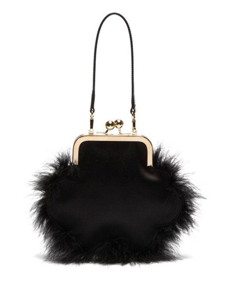 Simone Rocha - Feather Trimmed Satin Flower Bag - Womens - Black