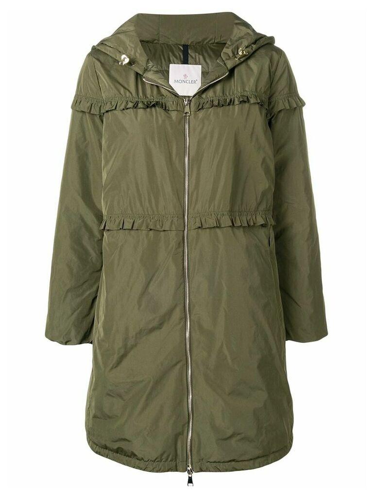 Moncler ruffle trim padded coat - Green