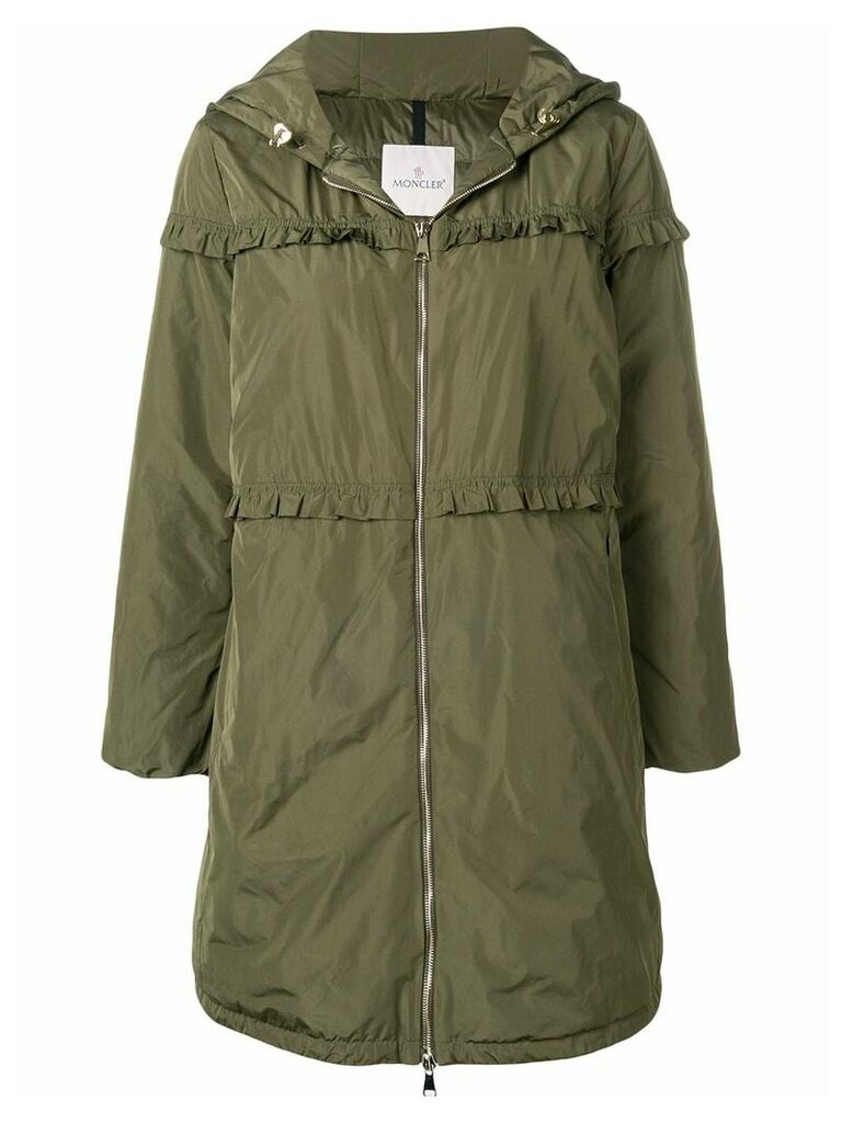 Moncler ruffle trim padded coat - Green