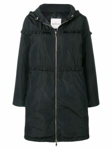 Moncler ruffle trim padded coat - Black