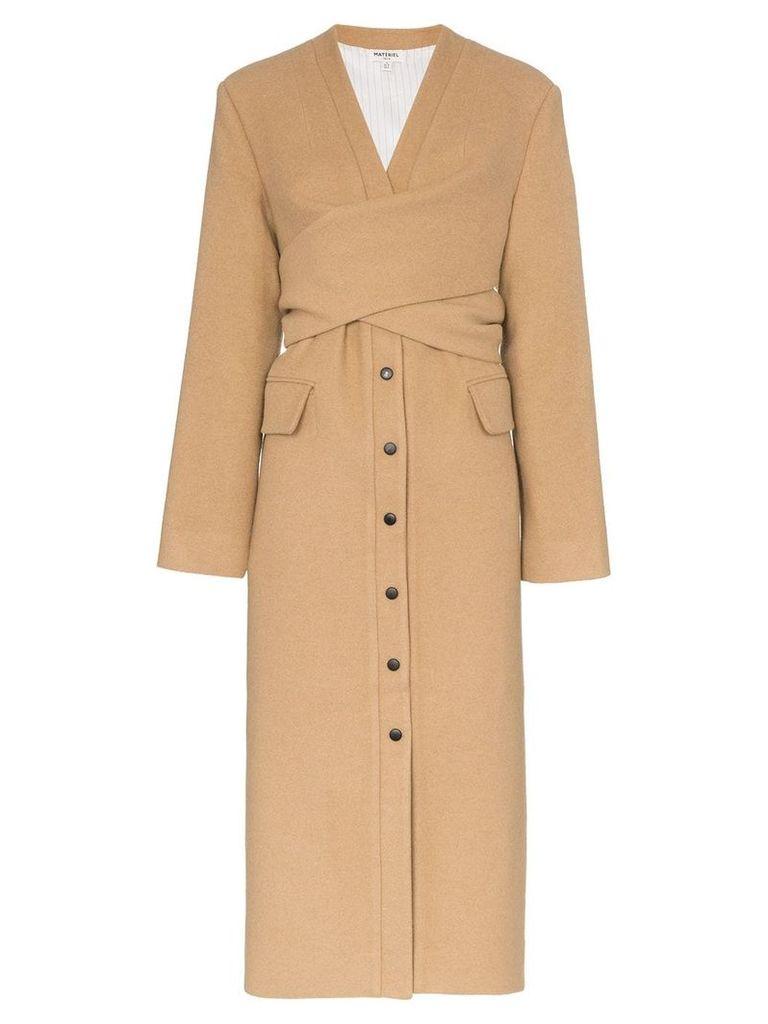 Matériel Wrap detail wool blend coat - Brown
