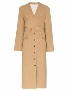 Matériel Wrap detail wool blend coat - Brown