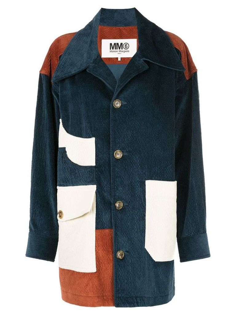 Mm6 Maison Margiela patchwork corduroy coat - Blue