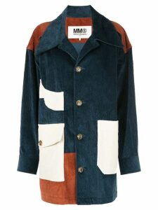 Mm6 Maison Margiela patchwork corduroy coat - Blue