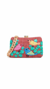 Serpui Marie Marissa Birds Embroidered Minaudiere