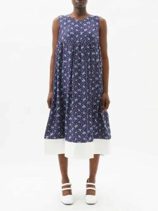 Balenciaga - Quilted Sleeve Checked Cotton Wrap Coat - Womens - Red Multi