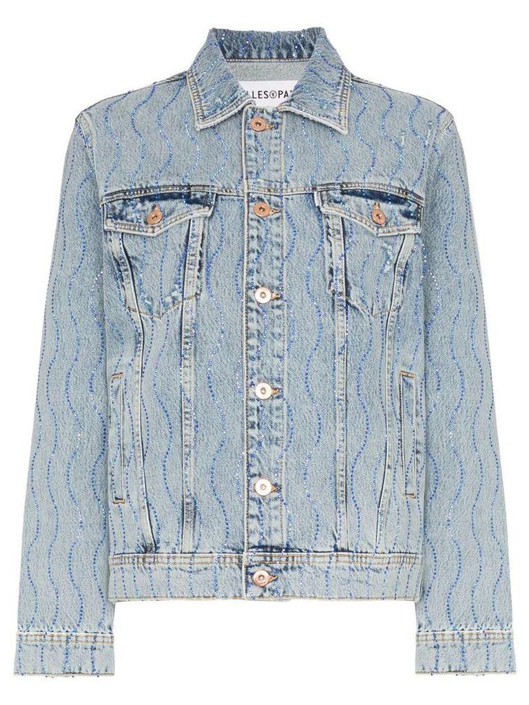 Filles A Papa Crystal swirl embellished denim jacket - Blue