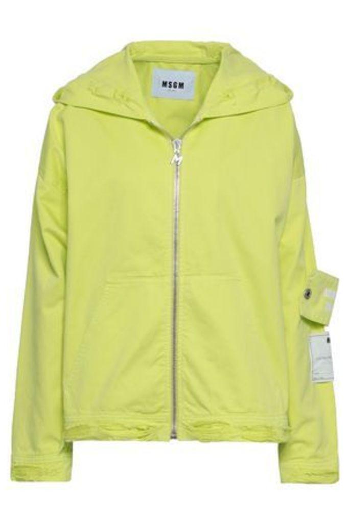 Msgm Woman Appliquéd Printed Denim Hooded Jacket Chartreuse Size 40