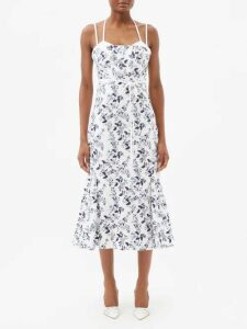 Balenciaga - Monogram Print Denim Midi Skirt - Womens - Black Grey